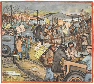 """In this painting by Depression-era artist Ronald Debs Ginther, jobless people staging a """"hunger march"""" on Olympia in March 1933 accept supplies from sympathetic farmers near Tacoma."""