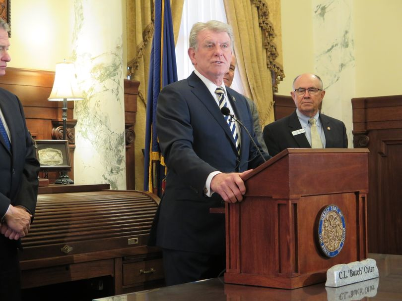 Gov. Butch Otter discusses this year's legislative session at a press conference in his office in the Idaho state Capitol on Thursday, March 29, 2018. (The Spokesman-Review / Betsy Z. Russell)