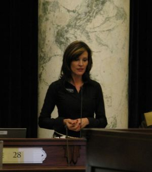 Rep. Janice McGeachin, R-Idaho Falls, debates in favor of the health care nullification bill, HB 117, in the House on Wednesday. She chairs the House Health & Welfare Committee. (Betsy Russell)