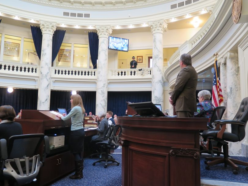 Idaho House Speaker Scott Bedke presides over a brief House session on Friday morning, after which the House adjourned until Tuesday. (The Spokesman-Review / Betsy Z. Russell)