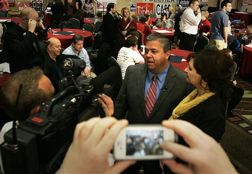 Idaho Superintendent of Public Instruction Tom Luna talks with reporters at the Idaho Republican Party's election night watch party Tuesday night. (AP / Matt Cilley)