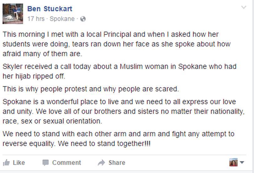 A Nov. 10 Facebook post by Spokane City Council President Ben Stuckart.