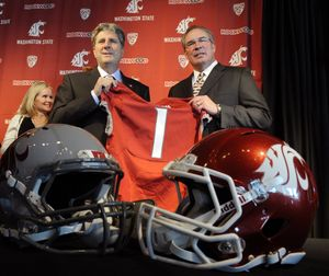 When Bill Moos hired Mike Leach in 2011, the athletic director believed in three years the Cougars would be poised for a breakthrough season. Instead, they went 3-9 this year. (File)