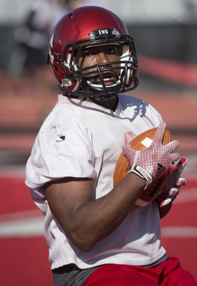 Senior running back Jabari Wilson, the most experienced back on the EWU roster, ran for 661 yards on 137 carries runs last season. (Colin Mulvany / The Spokesman-Review)