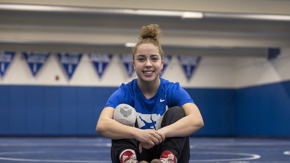 Alyssa Randles poses after practice at Coeur d'Alene's wrestling room on Dec. 23, 2020. Randles is one of the top-ranked girls wrestlers in the country.  (CHERYL NICHOLS/for The Spokesman-Review)