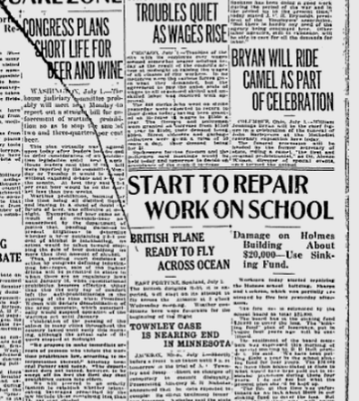 """A teen's fireworks burned the roof of the Holmes School, causing about $20,000 in damage. The fire was started when a """"paper toy balloon"""" lighted on the shingled roof. (S-R archives)"""