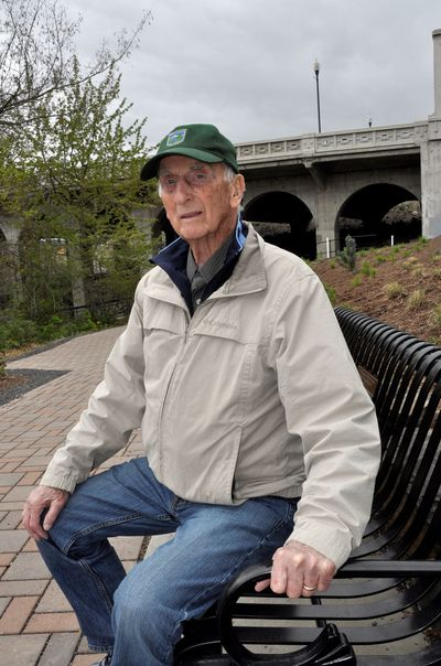 Clyde Anderson at Veterans Court, Mile 23 of the Spokane River Centennial Trail. (Rich Landers / The Spokesman-Review)