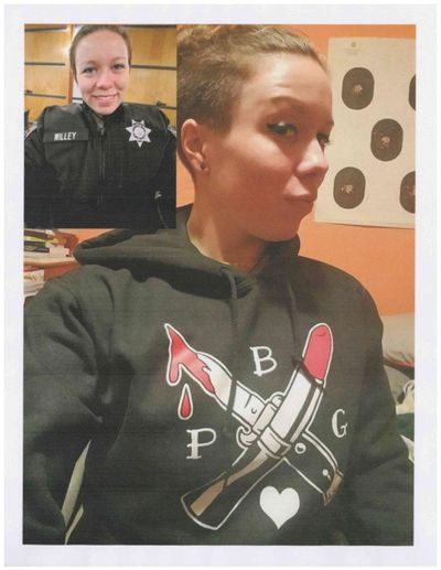 Former sheriff's Deputy Erin Willey in her duty uniform, top left, and wearing a sweatshirt bearing a Proud Boys-affiliated logo. She has been dismissed from her job following an investigation, according to the Columbian. (Courtesy photo via the Columbian)
