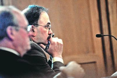 Assistant City Attorney Rocky Treppiedi appears in Superior Court on Friday  to finalize the city's refusal to release police reports about former Deputy Mayor Jack Lynch.   (Brian Plonka / The Spokesman-Review)