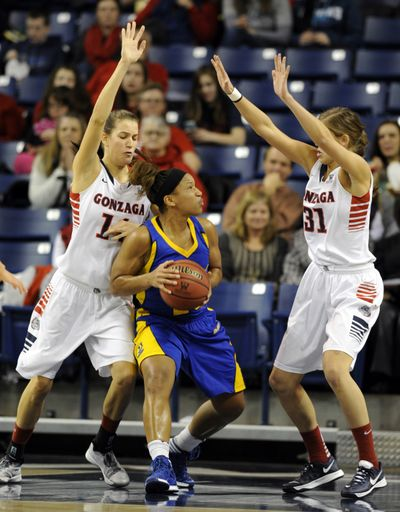 Gonzaga's Sunny Greinacher, left, and Elle Tinkle, right, surround Brittany Crain, center, of UC Riverside under the basket and apply a little intimidation in the first half Monday at the McCarthey Athletic Center.   (Jesse Tinsley)