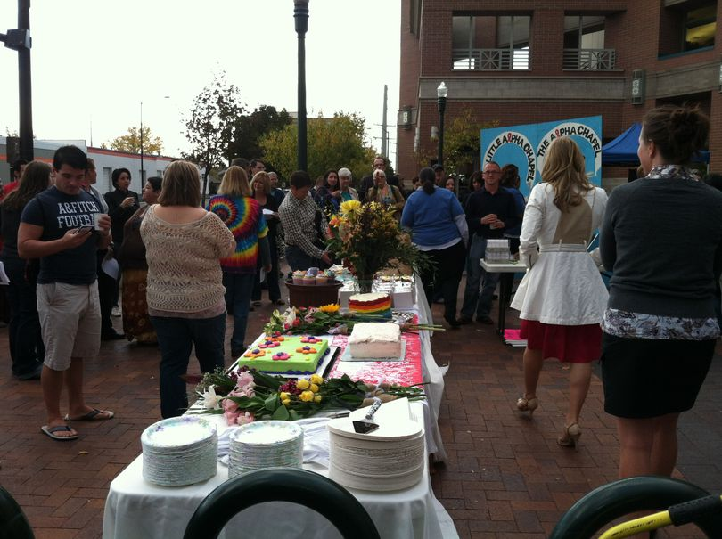 Cake and celebration outside the Ada County courthouse on Wednesday morning (Betsy Russell)