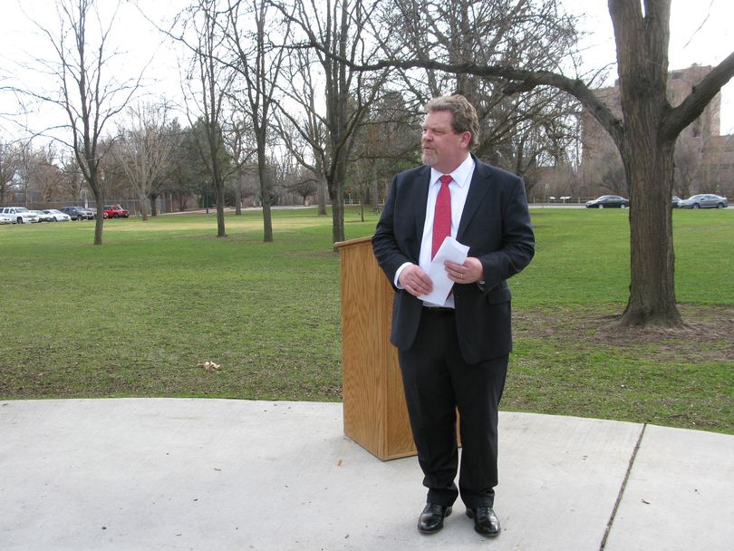 Boise attorney James Piotrowski announces Monday that he's running for Congress as a Democrat, challenging 1st District GOP Rep. Raul Labrador (Betsy Z. Russell)