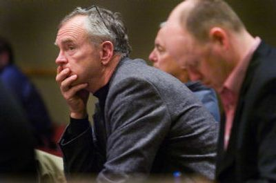 Developer Mick McDowell listens to testimony Thursday at Spokane City Hall regarding his proposed high-rise condo project above Peaceful Valley.   (Christopher Anderson / The Spokesman-Review)