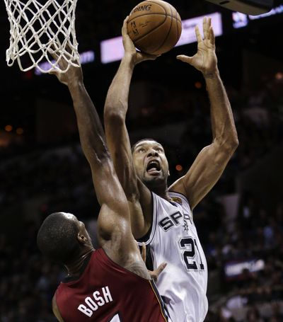 The Spurs' Tim Duncan shot 9 for 10 from the floor during Game 1. (Associated Press)