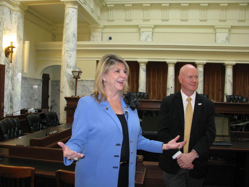 Sharon Day, co-chair of the Republican National Committee, talks with reporters at the state Capitol in Boise on Tuesday; at right is Idaho GOP Chairman Steve Yates. (Betsy Z. Russell)