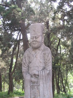 Statue of Confucius at the cemetery of his family in Qufu, China (Jim Camden, Spokesman-Review)