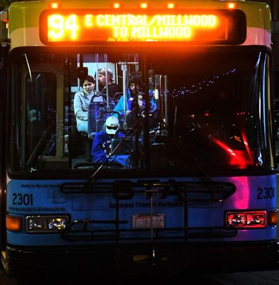 Passengers on the 94 bus wait to depart the STA Plaza in downtown Spokane, Wed. Oct. 5, 2016. (Colin Mulvany / The Spokesman-Review)