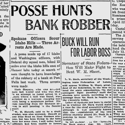 Seventeen men hiking near Hauser Lake found three suspects they believe had knowledge of a Post Falls bank robbery a week earlier, according to the Spokane Daily Chronicle on April 26, 1921.  (S-R archives)