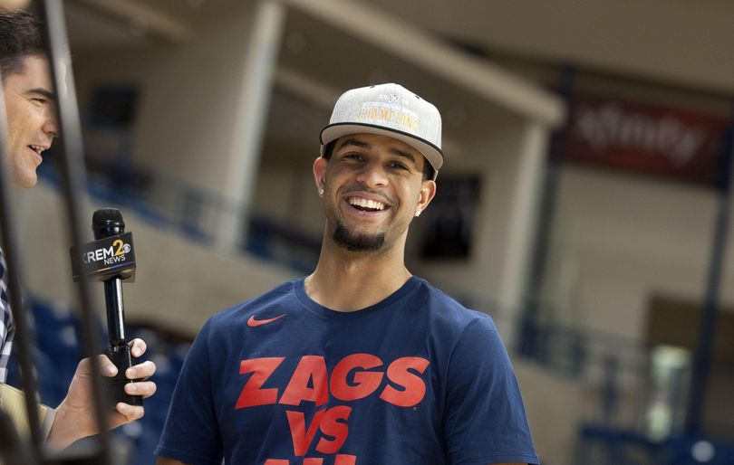 """""""My mom's house,"""" said Gonzaga guard Josh Perkins when asked where the best food in Denver was, during a press conference at McCarthey Athletic Center in Spokane on Sunday. Gonzaga is an 11-seed in the Midwest Region and will play No. 6 seed Seton Hall on Thursday in Denver. (Kathy Plonka / The Spokesman-Review)"""