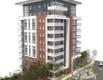 The 1400 Tower is a condo project proposed on Riverside Avenue overlooking Peaceful Valley. (Photo courtesy of Mick McDowell)