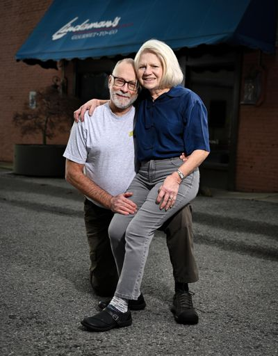 Larry and LeAnn Adams met on a blind date at Lindaman's in 1997. They only knew what type of clothing the other would be wearing. Every year on the anniversary of that blind date, they would go to Lindaman's wearing the shirts they wore on that day. Now that Lindaman's is closed, they don't know where they will go to re-enact that first date. (Colin Mulvany / The Spokesman-Review)