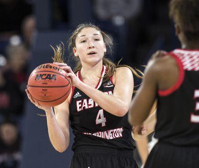 Delaney Hodgins scored 2,120 career points with Eastern Washington University. (Dan Pelle / The Spokesman-Review)