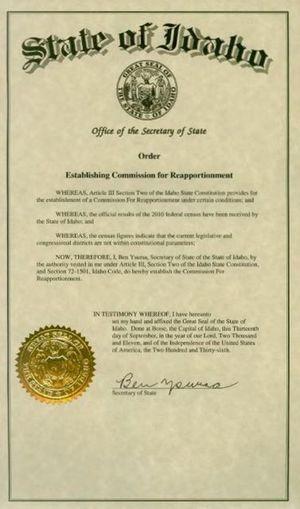Order of the Idaho Secretary of State, establishing new redistricting commission