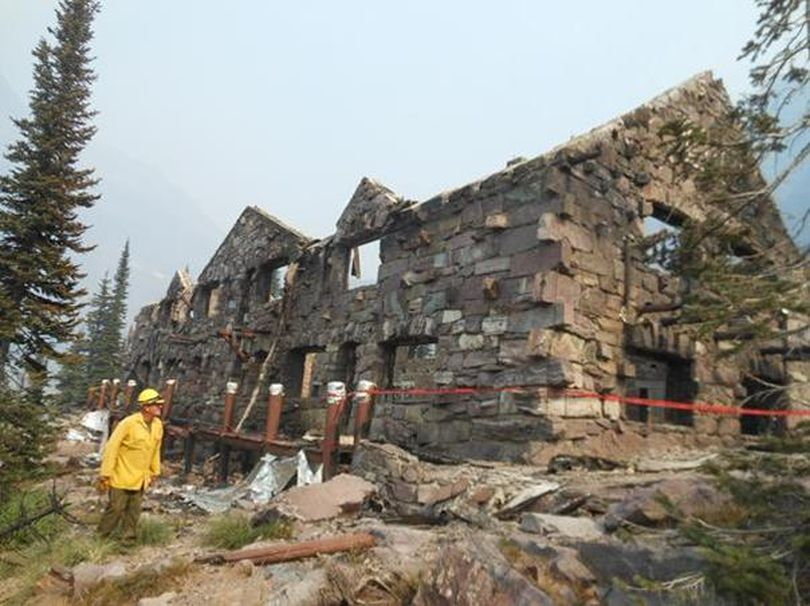 The century-old Sperry Chalet burned on Aug. 21, 2017, in the Sprague Fire that plagued Glacier National Park. (Glacier Conservancy)