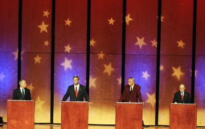 From left, Larry LaRocco, Rex Rammell,  Pro-Life and Jim Risch square off in a debate for the U.S. Senate seat vacated by Larry Craig on Tuesday at Northwest Nazarene University in Nampa, Idaho. Idaho Press-Tribune (Mike Vogt Idaho Press-Tribune / The Spokesman-Review)