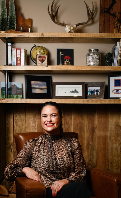 Elaine Damschen, an Inland Northwest Woman of the Year, poses for a photo at her home on Tuesday, Sept. 17, 2019, in Coeur d'Alene. (Tyler Tjomsland / The Spokesman-Review)