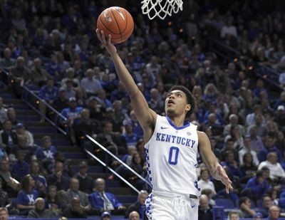 Kentucky's Quade Green gets an uncontested layup during the second half of an NCAA college basketball game against Winthrop in Lexington, Ky., Wednesday, Nov. 21, 2018. Kentucky won 87-74. (James Crisp / Associated Press)