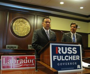 Russ Fulcher, left, announces that 1st District Congressman Raul Labrador, right, is endorsing Fulcher in his run against Idaho Gov. Butch Otter. (Betsy Russell)