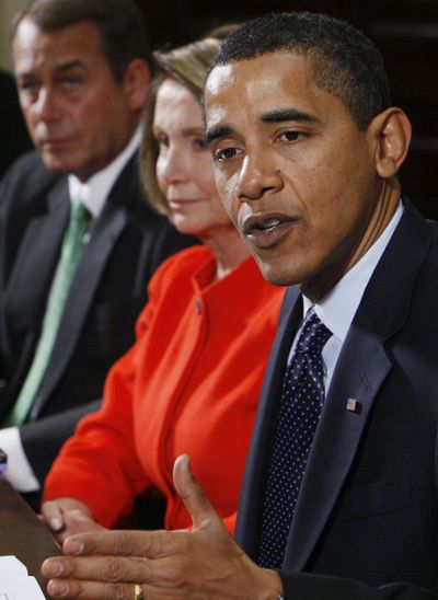 President Barack Obama speaks to reporters Friday during a meeting about the economy with congressional leaders.  (Associated Press / The Spokesman-Review)