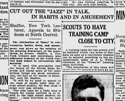 """""""It will do no good to appeal the class of people older than the high school student, for that class is crazy over jazz already,"""" Jerome Shaffer told North Central students. (Spokane Daily Chronicle archives)"""
