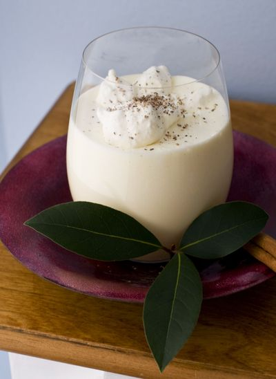 This eggnog contains both whipped cream and whipped egg whites. (Associated Press)