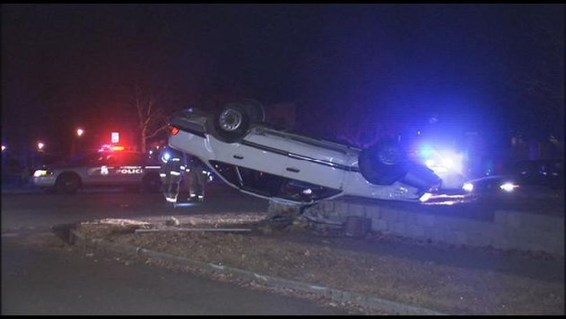 Salvadore Lazalde, 29, flipped his car during a chase with Spokane police early Thursday.  (KHQ)