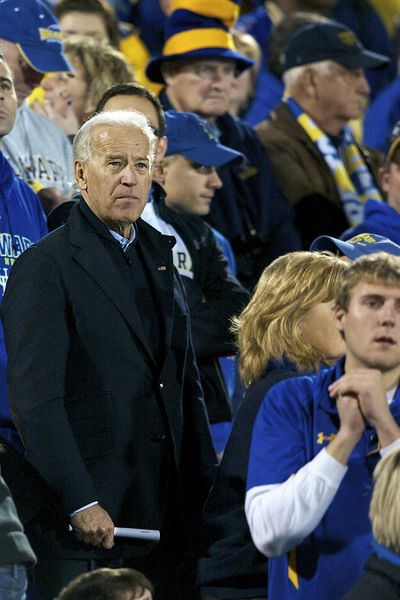 Vice President Joe Biden, a Delaware alumnus and big Blue Hen supporter, was in the stands for the Eastern Washington-Delaware FCS championship game on January 7, 2011. (Keith Currie / EWU)