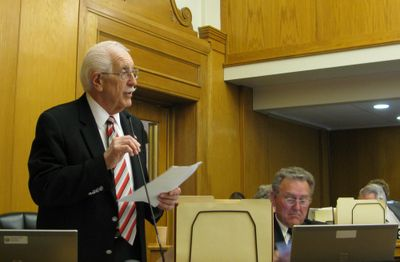 Rep. George Eskridge urges the House to approve an $82 million highway bonding program on Friday morning. Some bond money would be spent on the Garwood-to-Sagle freeway project.  (Betsy Z. Russell / The Spokesman-Review)