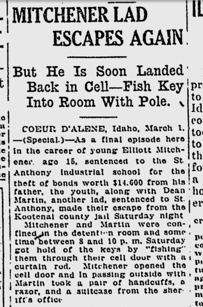 """Elliot Michener, later known as the """"Gardener of Alcatraz,"""" made a brief escape from the Kootenai County Jail on this day 100 years ago.  (S-R archives)"""