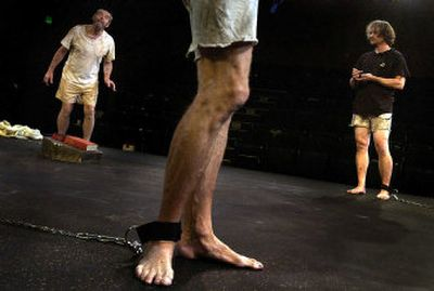 From left, Bill Caisley as Michael, the legs of Michael Maher as Edward and Charles Gift as Adam in a scene from Interplayers Ensemble's production of