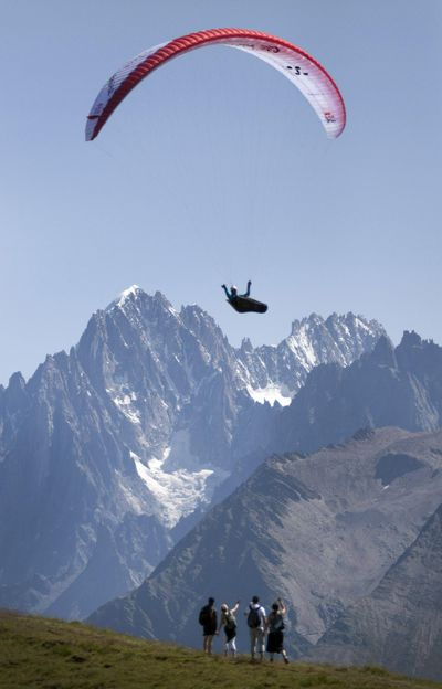 In this photo provided by Red Bull race leader Christian Maurer of Switzerland flies past the Mont Blanc turnpoint on day 9 of the Red Bull X-Alps adventure race from Salzburg to Monaco in Haute-Savoie, France, Monday July 27, 2009. The Spokane-area paragliding group, Center of Lift, is hosting an athlete fresh from competing in the Red Bull X-Alps paragliding race. (Dean Treml / AP)