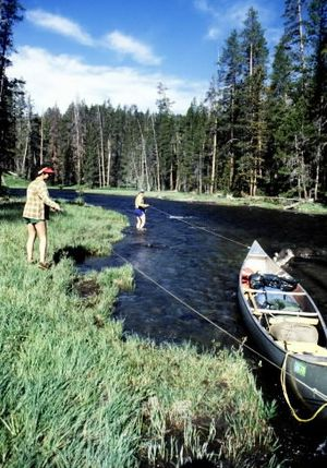 Paddlers track a canoe up the Lewis River to Shoshone Lake in Yellowstone National Park. (Rich Landers)