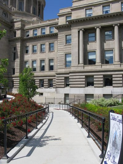 Sloping, curving walkways, including this one, will have to be torn out and replaced as part of $400,000 in modifications to bring Idaho's newly renovated state capitol into compliance with the Americans with Disabilities Act. (Betsy Z. Russell)