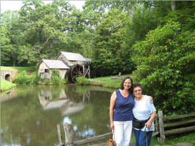 Full-time RVer Malia Lane and her mother, Bertha Quimby of Austin, Texas, stopped by the water-powered Mabry Mill at milepost 176 on the Blue Ridge Parkway in Virginia. Courtesy of Malia Lane  (Courtesy of Malia Lane / The Spokesman-Review)