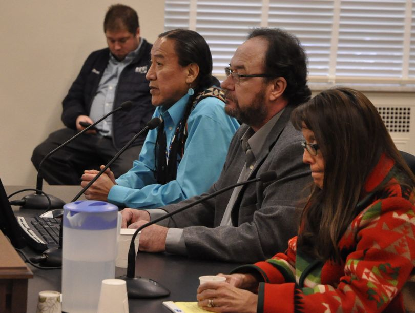 OLYMPIA -- Dave Browneagle, left, asks legislators for support to restore salmon to the Columbia River behind Grand Coulee Dam as D.R. Michel of Upper Columbia United Tribes and Spokane Tribal Chairwoman Carol Evans wait for questions. (Jim Camden/The Spokesman-Review)