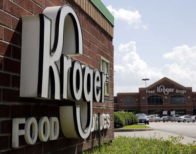 FILE - This June 17, 2014, file photo, shows a Kroger store in Houston. Kroger Co. says it was among the multiple victims of a data breach involving a third-party vendor's file-transfer service and is notifying potentially impacted customers, offering them free credit monitoring. The Cincinnati-based grocery and pharmacy chain said in a statement Friday, Feb. 19, 2021, that it believes less than 1% of its customers were affected, specifically some using its Health and Money Services, as well as some current and former employees because a number of personnel records were apparently viewed.  (David J. Phillip)
