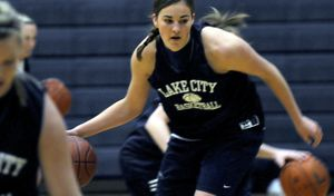 Lake City High senior post  Katie Baker practices  Thursday. Baker is a four-year starter for the Timberwolves. (Photos by KATHY PLONKA / The Spokesman-Review)