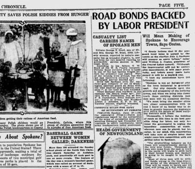Spokane County was preparing to vote on a massive $3.25 million bond issue for paving county roads, and the city's top labor leader announced his wholehearted support, the Spokane Daily Chronicle reported on June 30, 1919. The newspaper also reported on a a women's baseball game between the married women and single women of the North Side Christian Church. (Spokesman-Review archives)