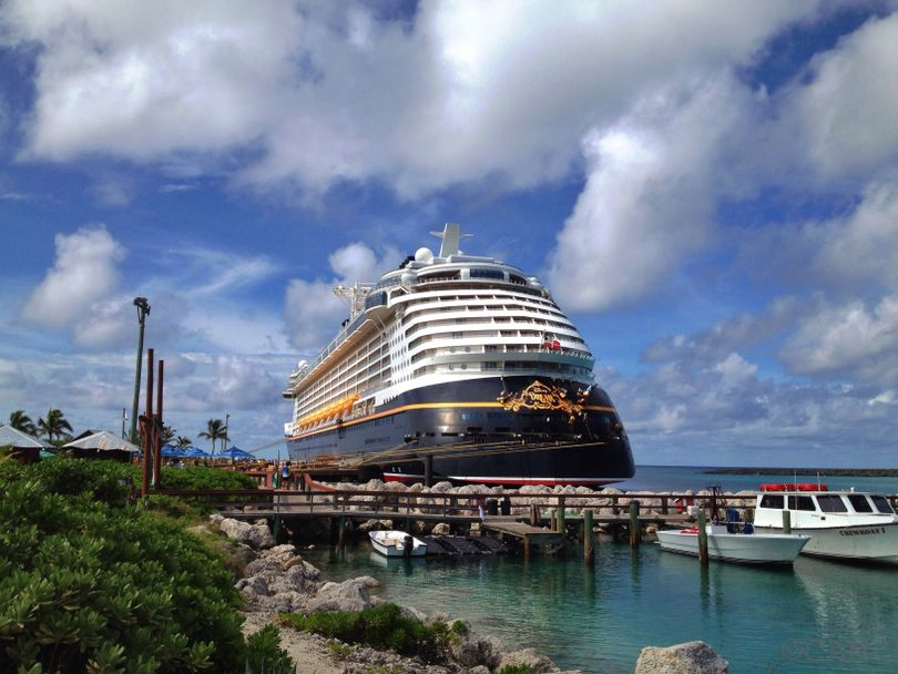 The Disney Dream docked at Disney's Castaway Cay (Cheryl-Anne Millsap / photo by Cheryl-Anne Millsap)