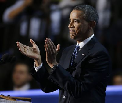 President Barack Obama applauds before his speech to the Democratic National Convention in Charlotte, N.C., on Thursday, Sept. 6, 2012. (Lynne Sladky / Associated Press)